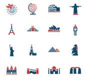 Ensemble d'icône de voyage et de merveilles Photos libres de droits