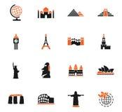 Ensemble d'icône de voyage et de merveilles Image libre de droits