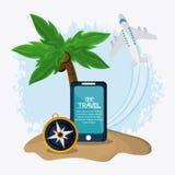 Ensemble d'icône de voyage Heure de voyager conception Dessin de vecteur Photos libres de droits