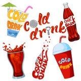 Ensemble d'icône froide de boissons et de boisson Images stock
