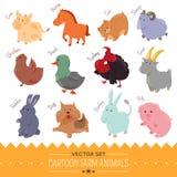 Ensemble d'icône mignonne d'animal de ferme de bande dessinée Photos stock