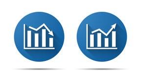 Ensemble d'icône plate bleue de graphique illustration de vecteur