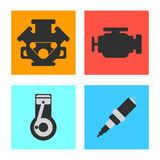 Ensemble d'icône plate de voiture de service sur le fond blanc Illustration de vecteur Image libre de droits