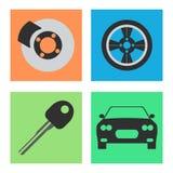 Ensemble d'icône plate de voiture de service sur le fond blanc Vecteur Photo libre de droits