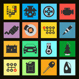 Ensemble d'icône plate de voiture de service sur le fond noir Illustra de vecteur Image libre de droits