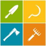 Ensemble d'icônes agricoles colorées Images libres de droits