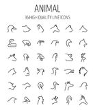 Ensemble d'icônes animales dans la ligne style mince moderne Photos libres de droits