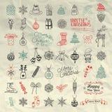 Ensemble d'icônes artistiques tirées par la main de griffonnage de Noël Images stock