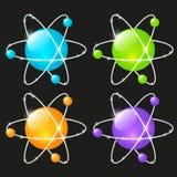 Ensemble d'icônes atomiques brillantes illustration stock