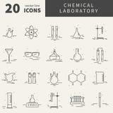 Ensemble d'icônes avec l'équipement de laboratoire chimique Images libres de droits