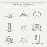 Ensemble d'icônes avec l'équipement de laboratoire chimique Image stock