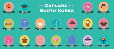 Ensemble d'icônes avec les points de repère coréens, objets, architecture dans le vecteur Images libres de droits