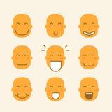 Ensemble d'icônes avec les visages jaunes illustration stock