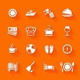 Ensemble d'icônes blanches de voyage Photographie stock