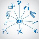 Ensemble d'icônes bleues créatives médicales Photo libre de droits