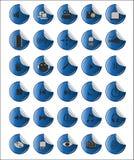 Web d'autocollant et icônes bleus de multimédia illustration de vecteur