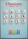 Ensemble d'icônes carrées en verre chimie de enseignement médecine science Photo stock