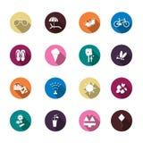 Ensemble d'icônes colorées d'été illustration de vecteur