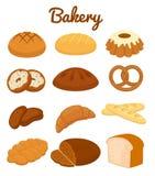 Ensemble d'icônes colorées de boulangerie Photographie stock libre de droits