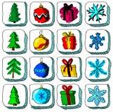 Ensemble d'icônes colorées de croquis de Noël avec Images stock