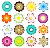 Ensemble d'icônes colorées de fleurs Illustration Libre de Droits