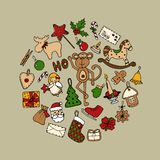 Ensemble d'icônes colorées de Noël de griffonnage Illustration Stock