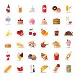 Ensemble d'icônes colorées de nourriture et de boissons Style plat Image stock