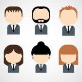 Ensemble d'icônes colorées de personnes de bureau. Homme d'affaires. Femme d'affaires. Photographie stock