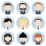 Ensemble d'icônes colorées de personnes de bureau Homme d'affaires Femme d'affaires Photos libres de droits