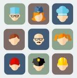 Ensemble d'icônes colorées de profession de personnes Image stock