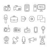 Ensemble d'icônes colorées plates de journalisme de vecteur mass illustration stock