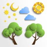 Ensemble d'icônes. Conception de coupe de papier. Sun, lune, étoiles, arbre, nuages Photographie stock libre de droits