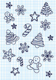 Ensemble d'icônes décrites tirées par la main de griffonnage de Noël Illustration de vecteur de Noël Texture (de papier) froissée Images stock
