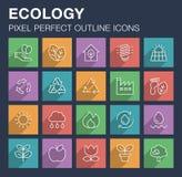Ensemble d'icônes d'écologie avec la longue ombre Image stock