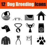 Ensemble d'icônes d'élevage de chien Images stock