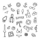 Ensemble d'icônes d'été de griffonnage de vecteur Photographie stock