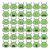 Ensemble d'icônes d'étrangers d'espace avec différents visages d'émotions, heureux et tristes Photo stock