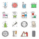 Ensemble d'icônes d'accessoires de voiture illustration stock