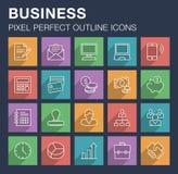Ensemble d'icônes d'affaires avec la longue ombre Photographie stock libre de droits