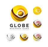 Ensemble d'icônes d'affaires de logo de sphère ou de cercle de globe Photos stock
