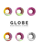 Ensemble d'icônes d'affaires de logo de sphère ou de cercle de globe Photo stock