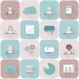 Ensemble d'icônes d'affaires, icônes plates réglées Illustration de Vecteur