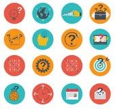 Ensemble d'icônes d'affaires plates, lançant sur le marché, commerce électronique, finances Photographie stock libre de droits