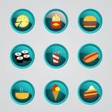 Ensemble d'icônes d'aliments de préparation rapide Photographie stock libre de droits