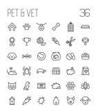 Ensemble d'icônes d'animal familier dans la ligne style mince moderne Photos stock