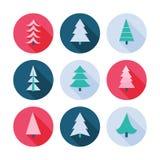 Ensemble d'icônes d'arbres de Noël illustration libre de droits