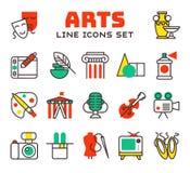 Ensemble d'icônes d'art dans des symboles de divertissement de palette de brosse de photo d'appareil-photo de conception et la co Photos libres de droits