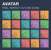 Ensemble d'icônes d'avatar avec la longue ombre Image stock