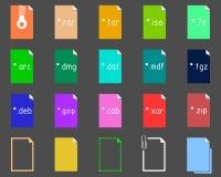 Ensemble d'icônes d'extension d'archives Image stock