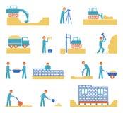 Ensemble d'icônes d'industrie du bâtiment de constructeur